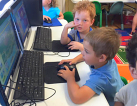 children in a computer room